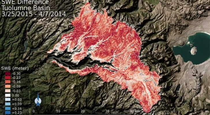 NASA: California Tuolumne Snowpack 40 Percent of Worst Year